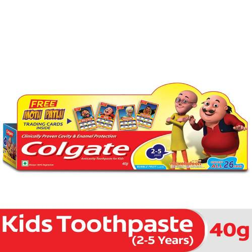colgate-anticavity-toothpaste-for-kids-2-5-years-bubble-fruit-flavour-40g-with-free-motu-patlu-trading-cards
